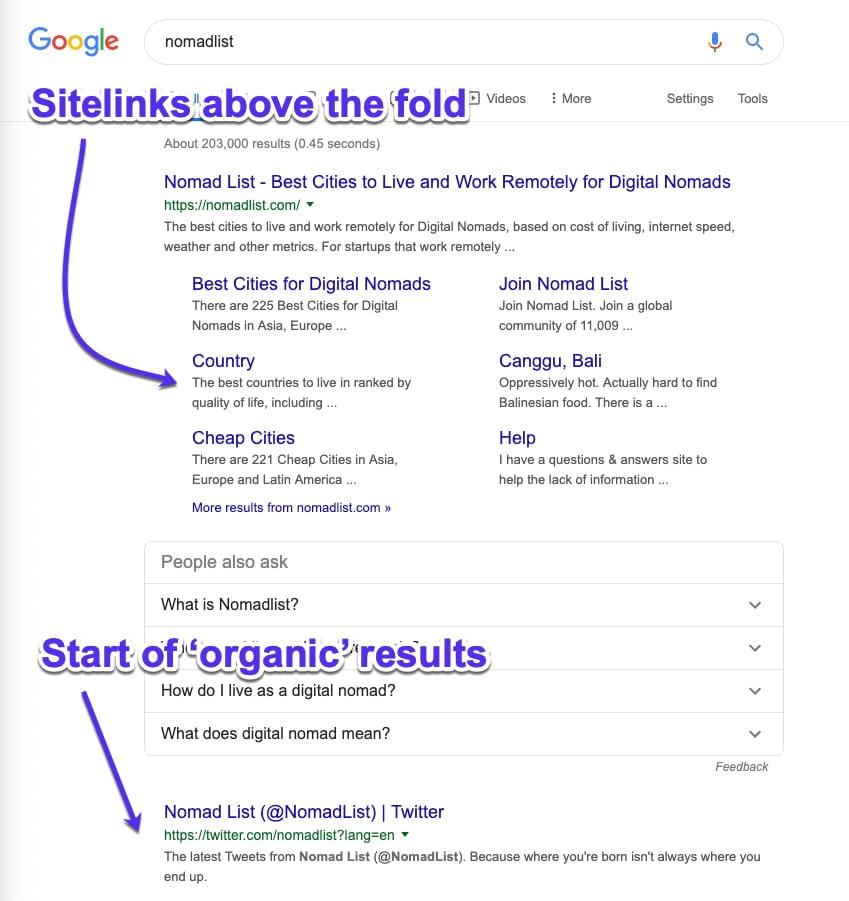 نمایش دادن سایت لینک فضای زیادی از موتور جستجو می گیرد